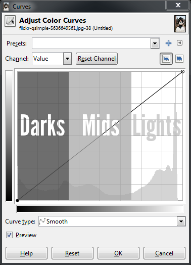 GIMP Base Curves darks mids lights zones