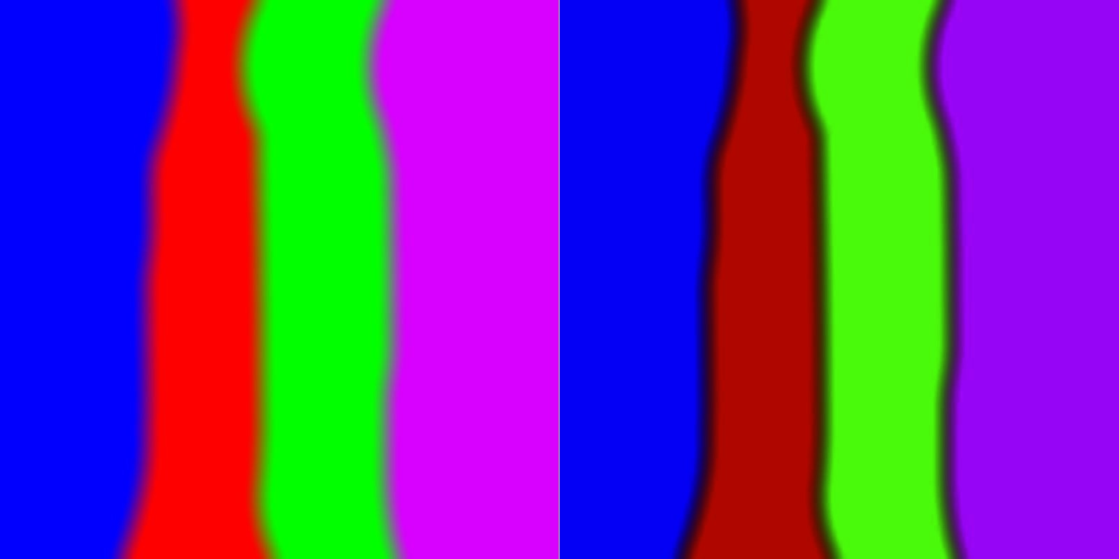Left: Linear RGB blurring sRGB encoding; Right: sRGB encoding, then blurring