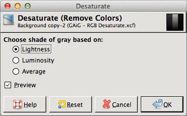 GIMP Desaturate Dialog
