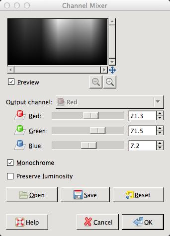GIMP Channel mixer luminosity values