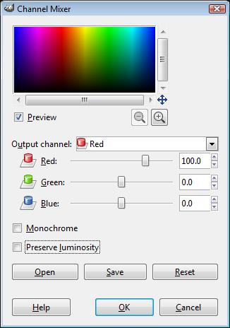 GIMP Channel Mixer Dialog