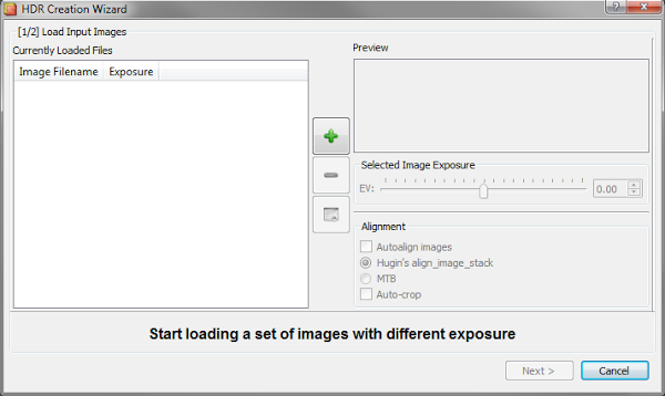 LuminanceHDR load wizard