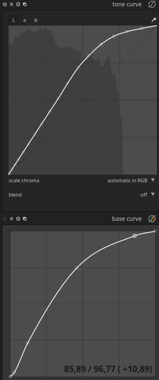 darktable base curve vs. tone curve
