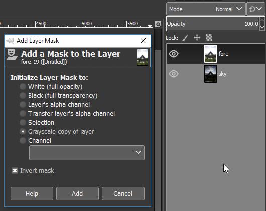 GIMP Add Layer Mask Dialog