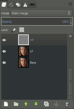 GIMP Layers Dialog Frequency Separation