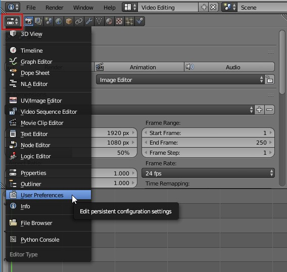 Blender change to preferences