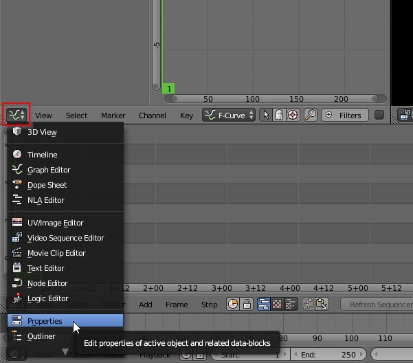 Blender change pane to properties