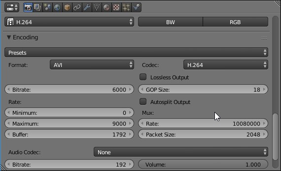 Blender output encoding options