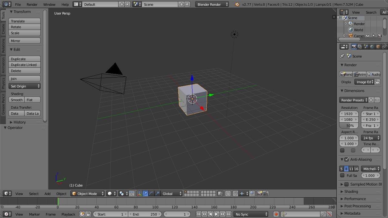 Blender default main window