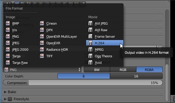 Blender output h264