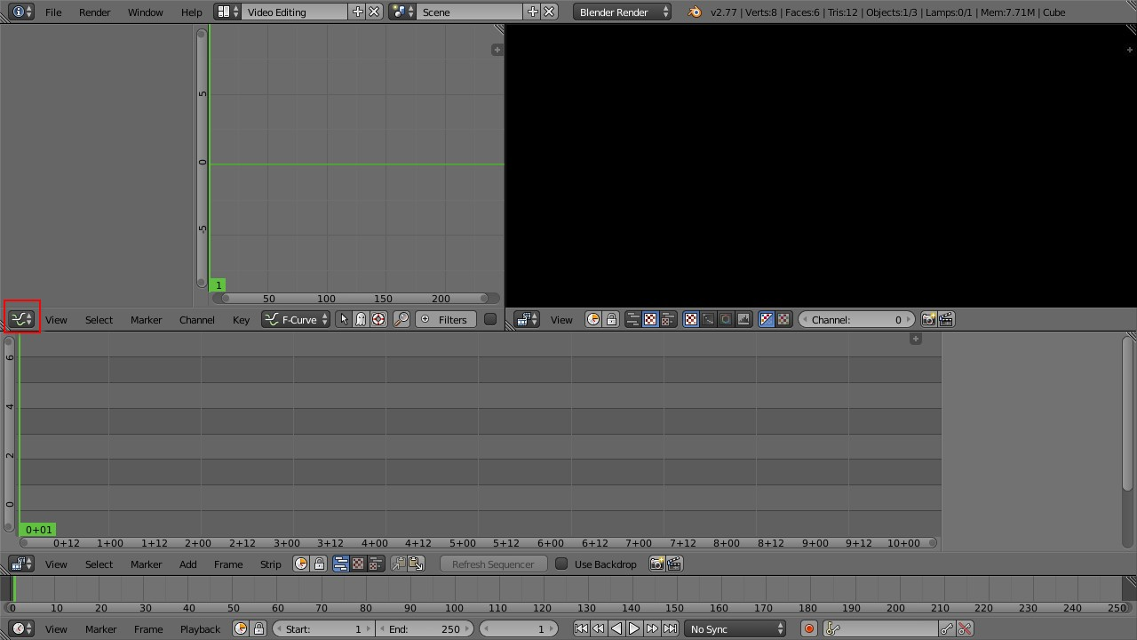 Blender video editing layout
