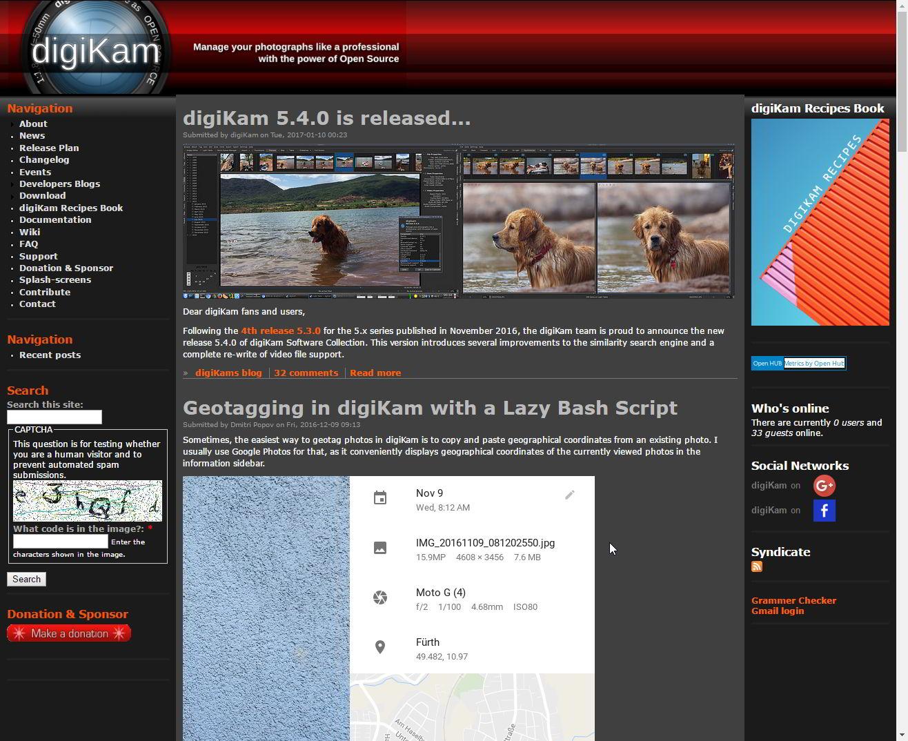 Old digiKam website